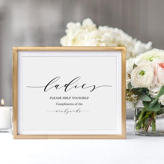 "Ladies Please Help Yourself Sign, 5x7"" & 8x10"" Printable Compliments of the Newlyweds sign, Ladies, Gentlemen ""Wedding"" Download / Print"