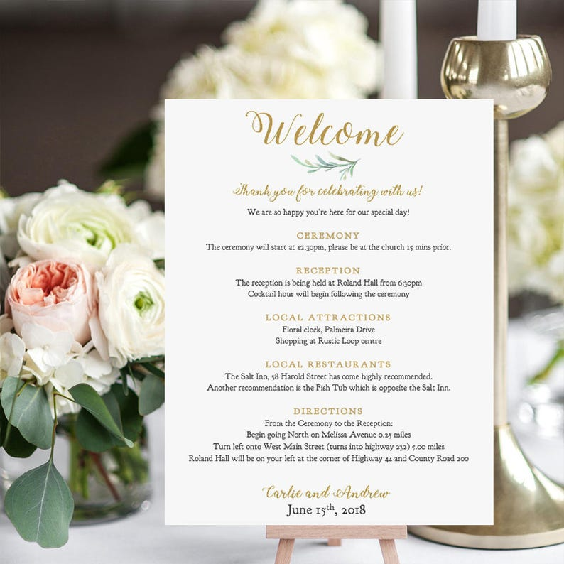 Welcome Itinerary Card Printable Wedding Welcome Note full / image 0