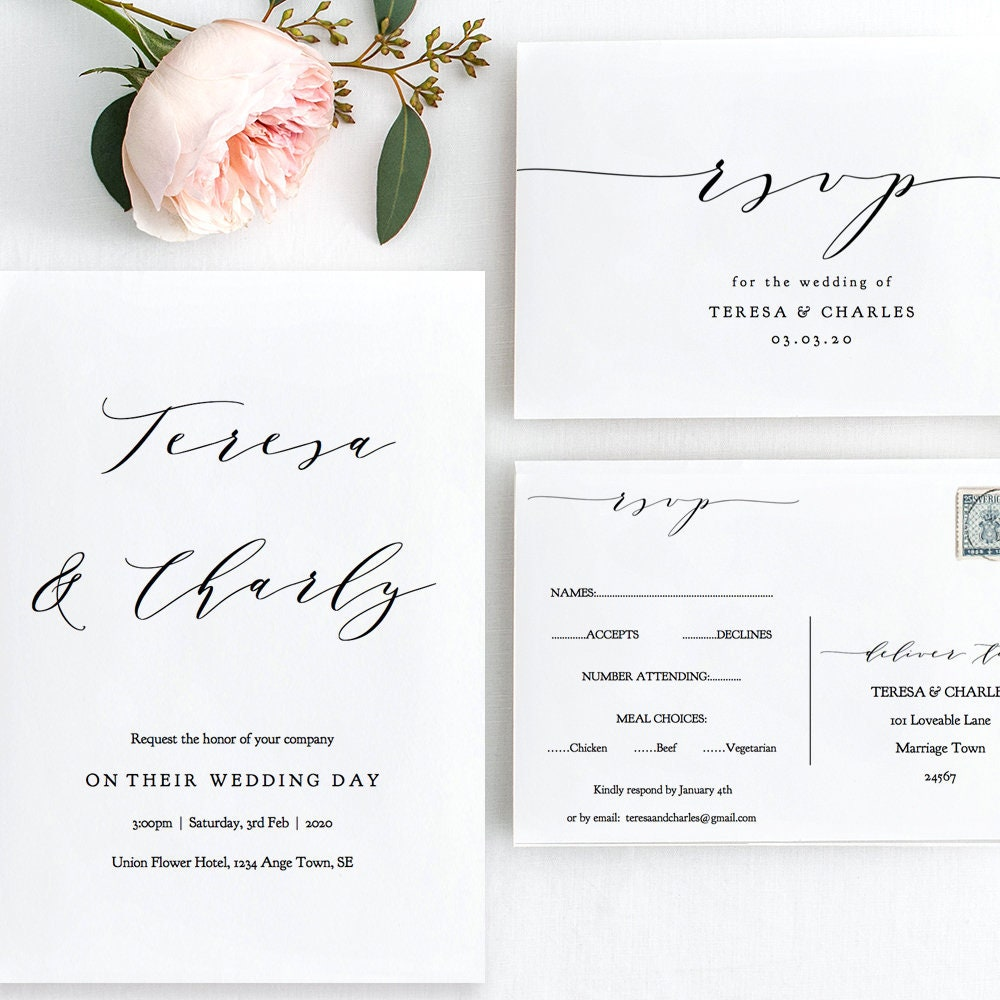 Cost Of Printing Wedding Invitations: 14x Printables For Your Complete Wedding Invitation Set