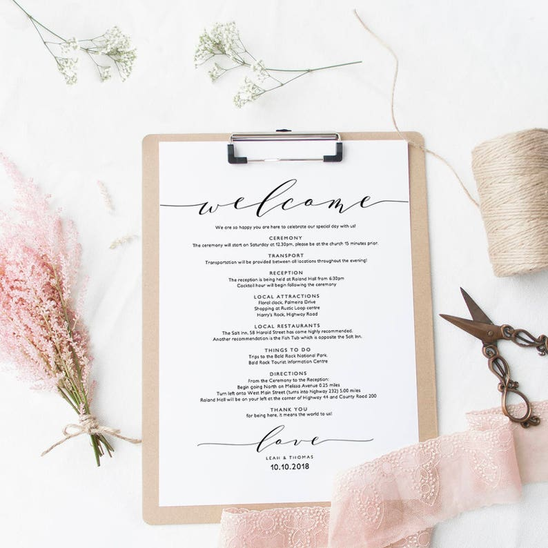 Welcome Itinerary Wedding Guest Welcome letter template, printable wedding  welcome letter template,