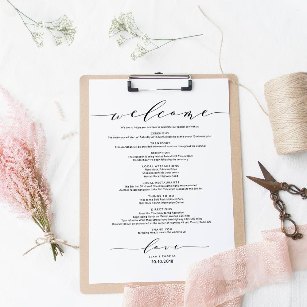 welcome itinerary wedding guest welcome letter template printable wedding welcome letter template wedding edit in word or pages