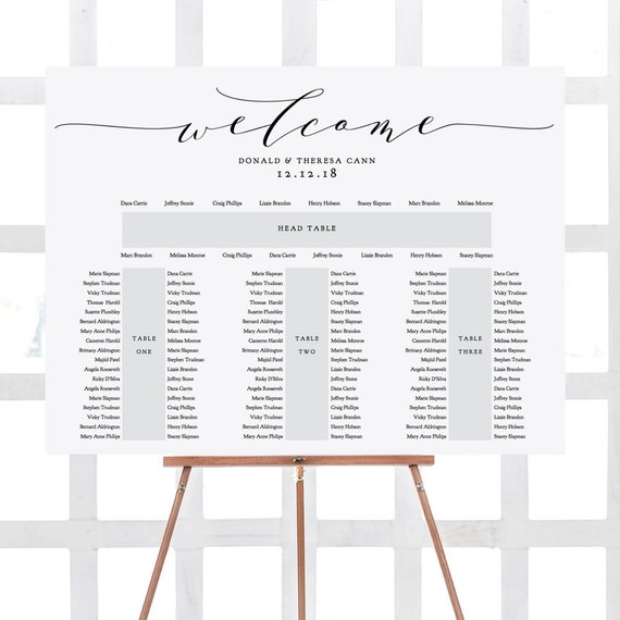 Banquet Seating Chart 3 Tables And Top Table Printable E Etsy