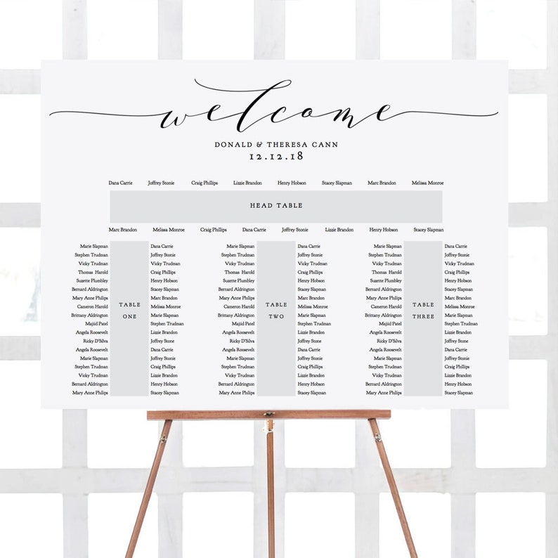 Banquet Seating Chart 3 tables and top table printable E image 0