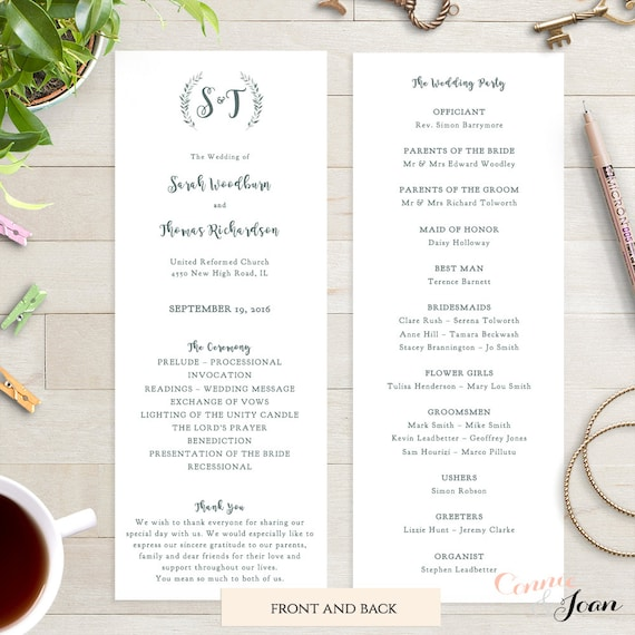 Wedding program template printable order of service template rustic printable program | Leaves wreath | Royal Gardens | Editable template