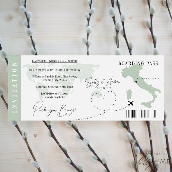 Destination - Italy Boarding Pass Invitation Template, Printable Destination Wedding Invitation, Pack your Bags, Corjl Templates, FREE Demo