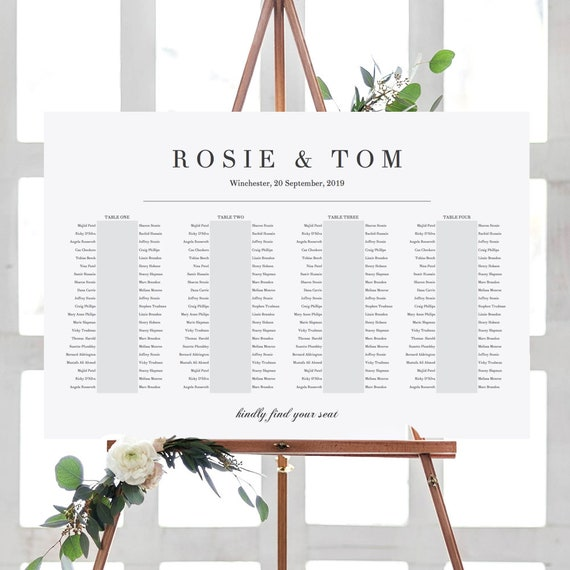 """4 Banquet Tables, Elegant Printable Seating Chart 4 Long Tables, """"Rosie"""", 24x36"""", A1 sizes included Edit in ACROBAT"""