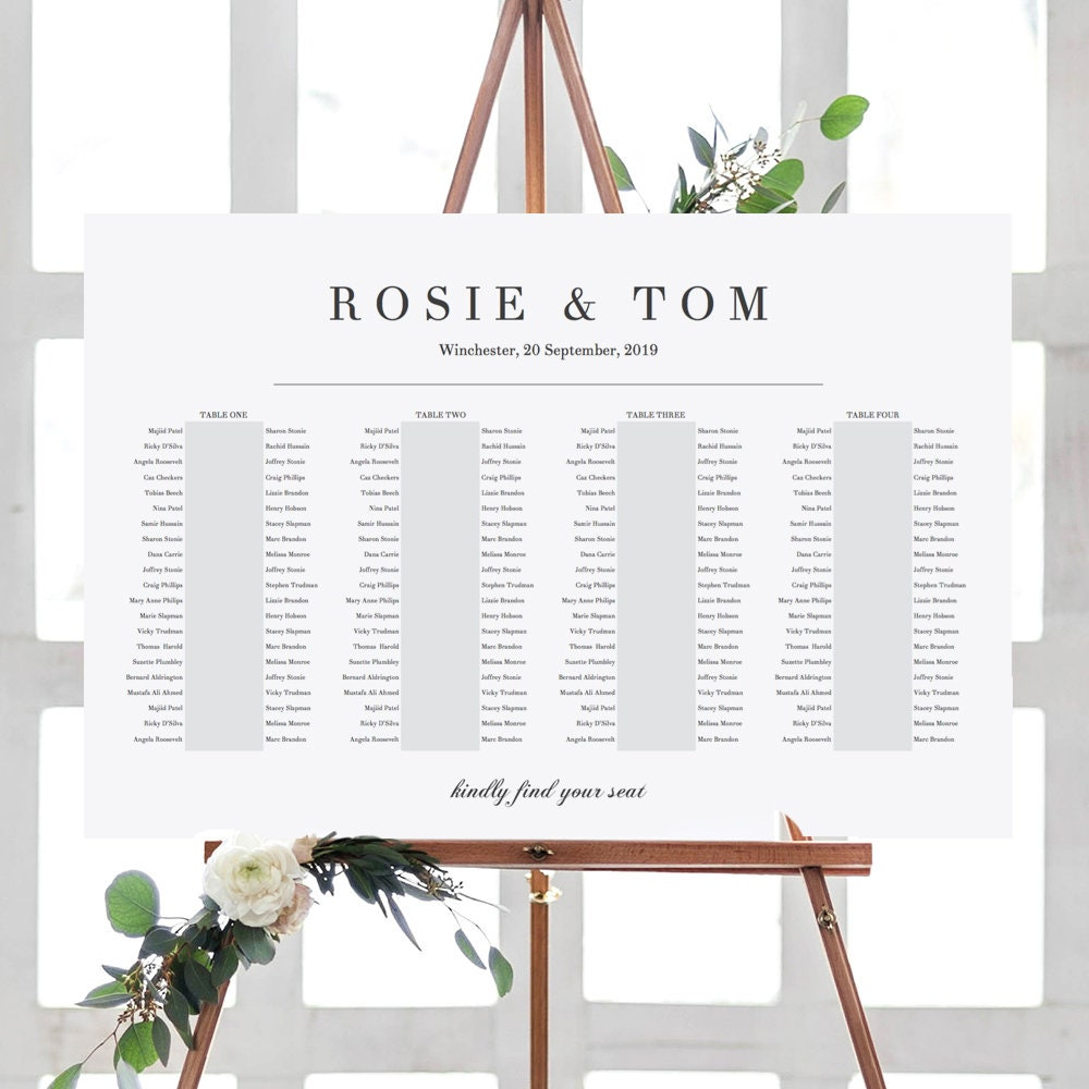 4 Banquet Tables, Elegant Printable Seating Chart 4 Long