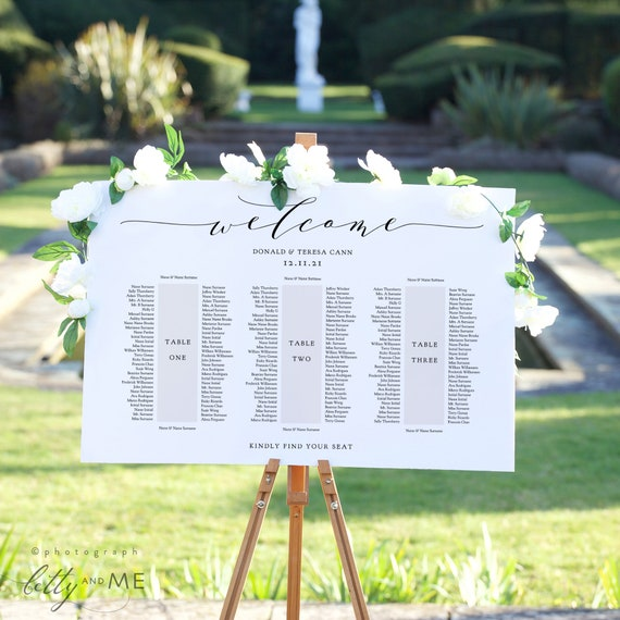 """Banquet Seating Plan 3 Long Tables, Banquet Table Plan Printable Template, """"Wedding"""", 18x24"""" 24x36"""", A1, A2 sizes, Corjl Template, FREE Demo"""