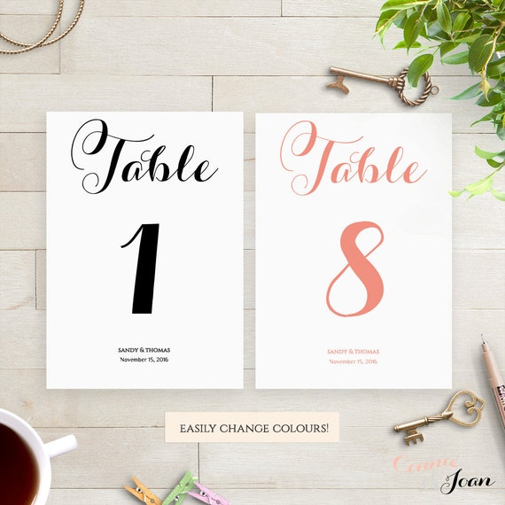 Table number printable template Wedding template. Byron. Edit, print, trim | DIY Editable printable template, Edit in WORD or PAGES