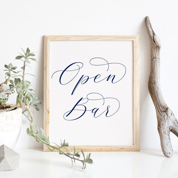 "Navy Open Bar Printable Sign, Printable Wedding Sign ""Beautiful"" 8x10"", Download and Print"