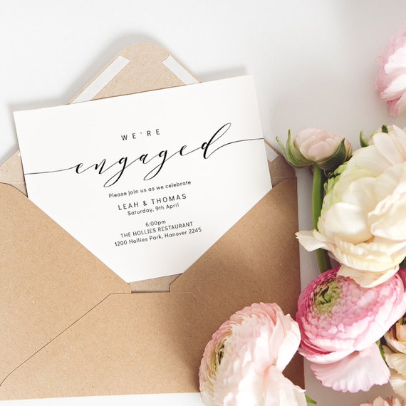 "Engagement Invitation Printable Template, Printable We're Engaged Invitation. Engagement Party Invitation. ""Wedding"", Corjl FREE Demo"