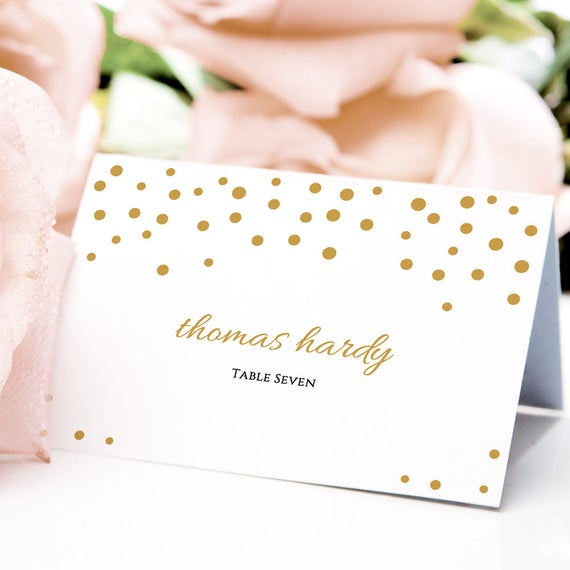 "Gold confetti name place card template 3.5x2.5"", flat and folded wedding table place cards, instant download, Orlando, Edit in WORD or PAGES"