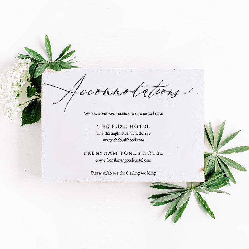 Accommodations Card Template Printable Accommodation Wedding
