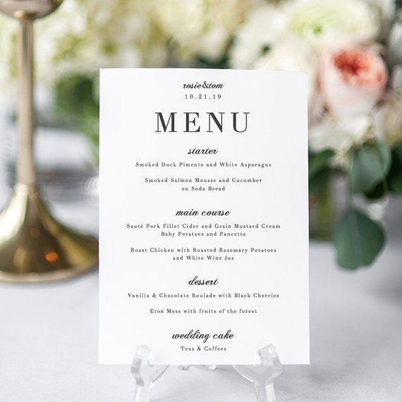 photo about Printable Wedding Menus named Stylish Menu Card, Marriage ceremony Menu Printable Template, classy and clic marriage ceremony Rosie. Edit inside of Phrase or Internet pages