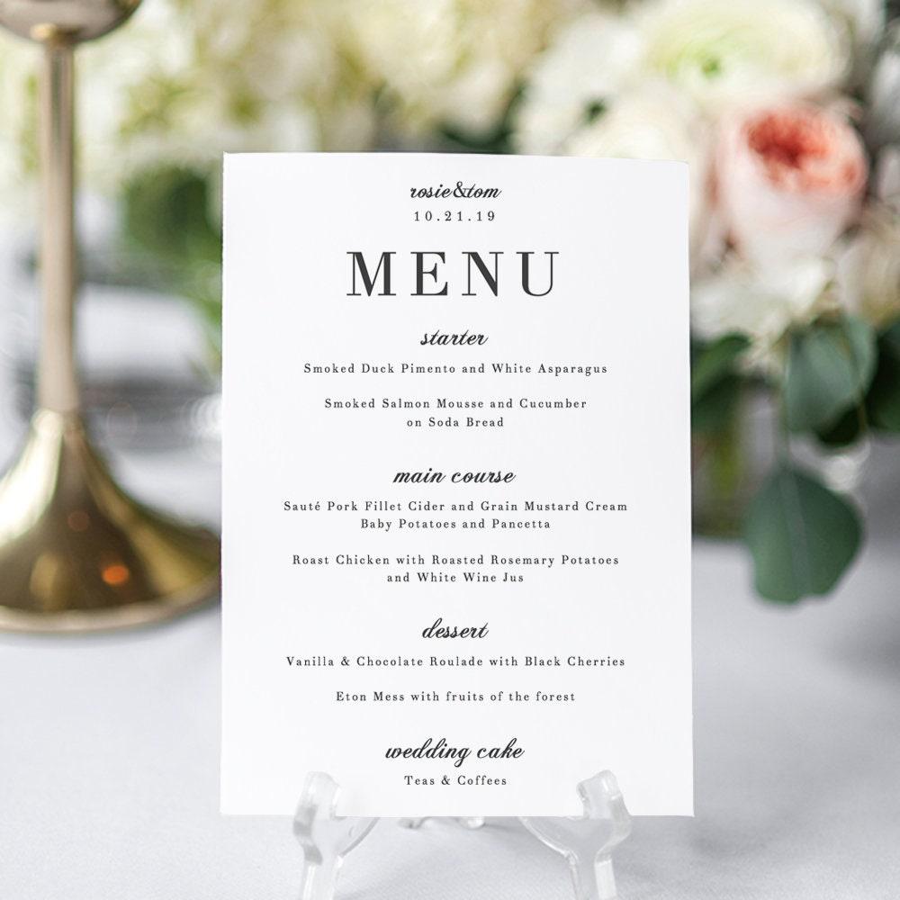 Elegant Menu Card Wedding Printable Template