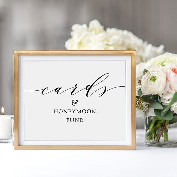 "Cards & Honeymoon Fund Sign, Printable Honeymoon Fund Sign, Wedding Sign, 8x10"" wedding sign, Download and Print"