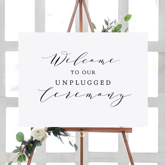 "Unplugged Ceremony Sign, Printable Welcome to our Unplugged Ceremony Sign ""Wedding"" 18x24"", 24x36"", A2, A1 sizes, Download & Print"