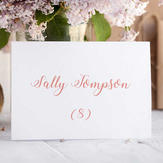Coral Wedding Name Place Cards Printable Template Folded & Flat Place Cards Wedding place cards printable, Editable PDF