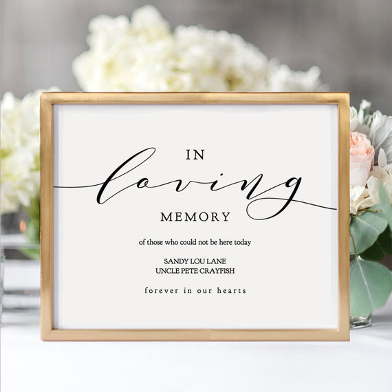 "In Loving Memory Printable Sign, Printable In Loving Memory, 8x10"" and 5x7"" printable wedding sign, ""Wedding"" Editable PDF"