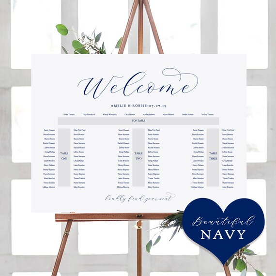 "Navy Blue Banquet Seating Plan Template, DIY Printable wedding seating plan ""Beautiful"" 24x36"" and A1 sizes included, Editable PDF"