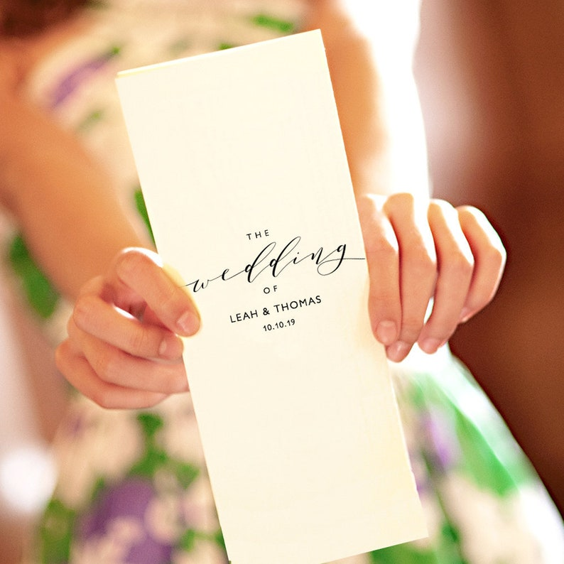 Bi-fold wedding program template long thin folded order of image 0