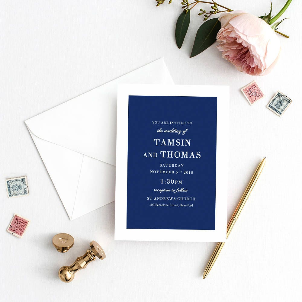 Navy blue wedding invitation template navy blue invitation navy blue wedding invitation template navy blue invitation printable wedding invitations edit in word or pages stopboris Choice Image
