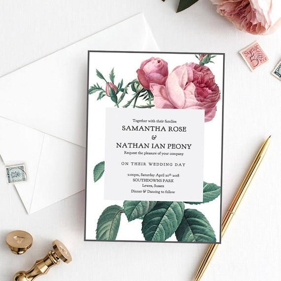 Vintage rose printable wedding invitation, printable invitation, Rose Invitation, Vintage Rose | Editable printable template