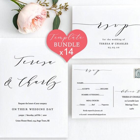 DIY BUNDLE ~ 14x Printables Wedding Invitation Suite, 14 printable templates included 'Wedding', Editable PDF