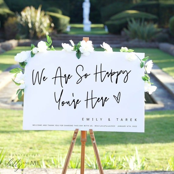 Wedding Welcome Sign, Wedding Decor, We Are So Happy You're Here, Printable Wedding Signs, Modern Minimalist Corjl Template, FREE Demo | 88