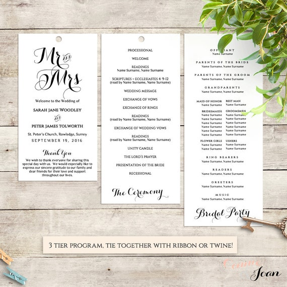 Printable Tier Wedding Program. Byron. Edit, print, trim | DIY Editable printable template | Word files A4 and 8.5x11