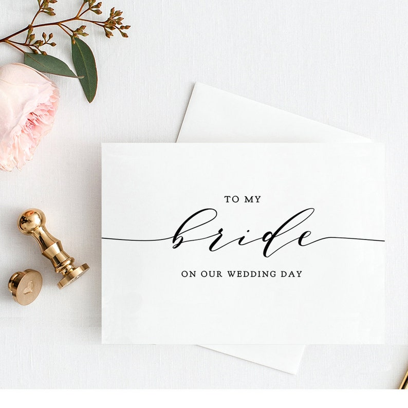 To My Bride on Our Wedding Day plus To My Groom Card Printable image 0
