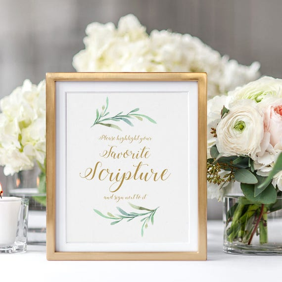 "Scripture Sign printable, Please highlight your favorite scripture and sign next to it. Printable Wedding Signage, 5x7"" and 8x10"" PDFs"