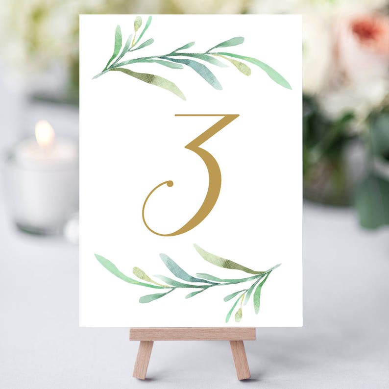 Greenery wedding table numbers printable numbers in gold 1-50 image 0