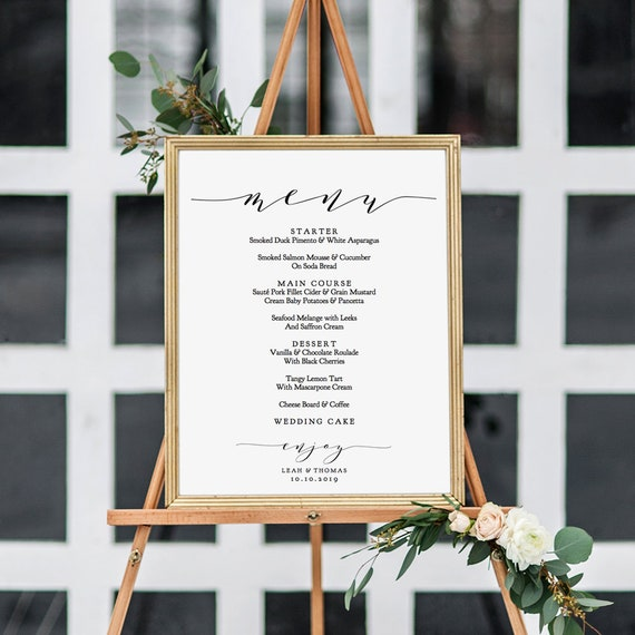 "Menu Sign Printable Large Wedding Menu Sign 18x24"", ""Wedding"" Editable PDF"
