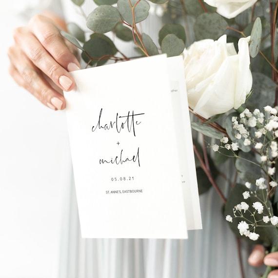 Moderna - Minimalist Folded Wedding Program Booklet, Modern Minimalist Order of Service, Customise, Print, Fold, Corjl, FREE Demo