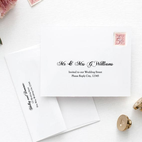 Printable Wedding Envelope Template 5x7 Front And Back Etsy