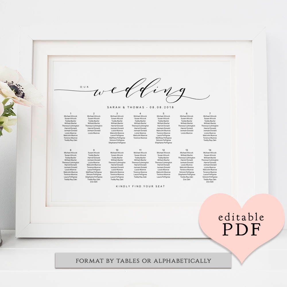 wedding seating chart printable wedding seating chart poster template diy wedding a2 a1 18x24 24x36 sizes included editable pdf