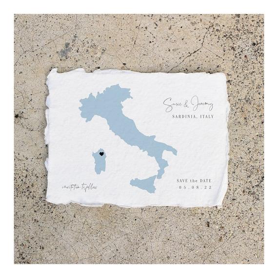 "Destination - Sardinia Wedding, Destination Wedding in Italy, Tuscany, Umbria, Save the Date 5x7"", 4x5.5"", A6 Corjl Templates, FREE Demo"