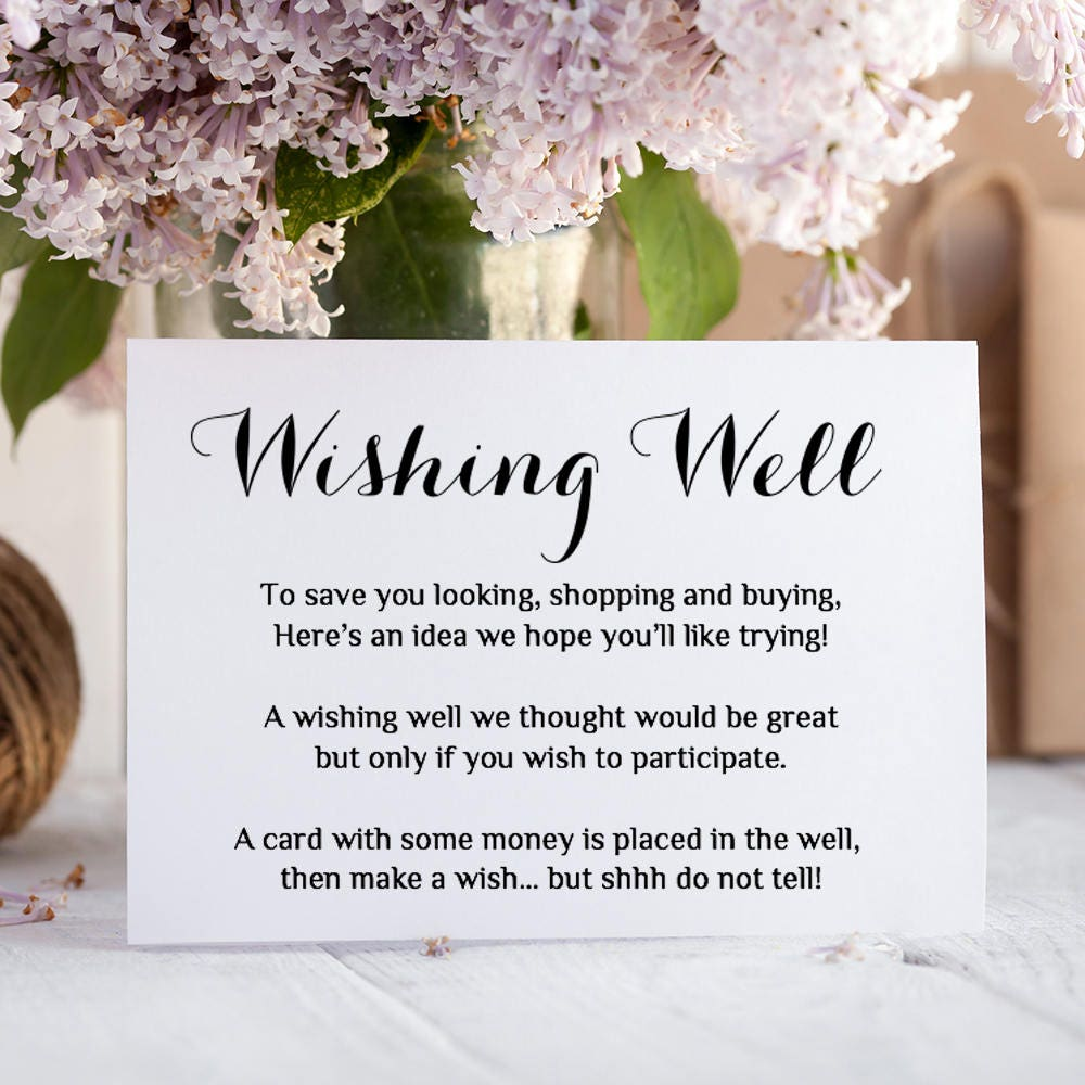 Printable Wedding Wishing Well Card Any Colour Wishing Well Poem