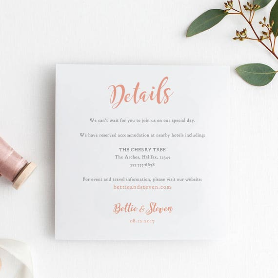 Coral Wedding Card Printable Details Card Template, Info Details printable, Bettie, any colour | Edit in WORD or PAGES