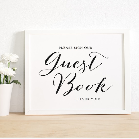 Wedding Guest Book Sign Printable Guest Book Sign Wedding Etsy
