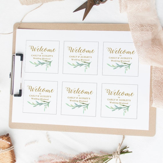"Welcome Box Sticker 3x3"" Tag, Printable Wedding Welcome Tag Template, Greenery, 3x3"" square, Edit in WORD or PAGES"