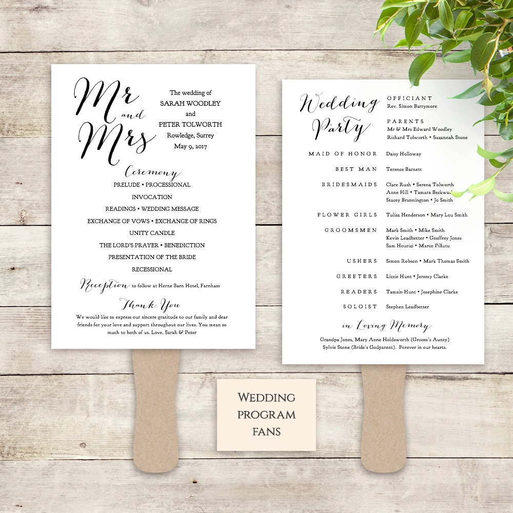 Fan Wedding Program Instant Download Printable Template Paddle Fan - 5x7 wedding program template