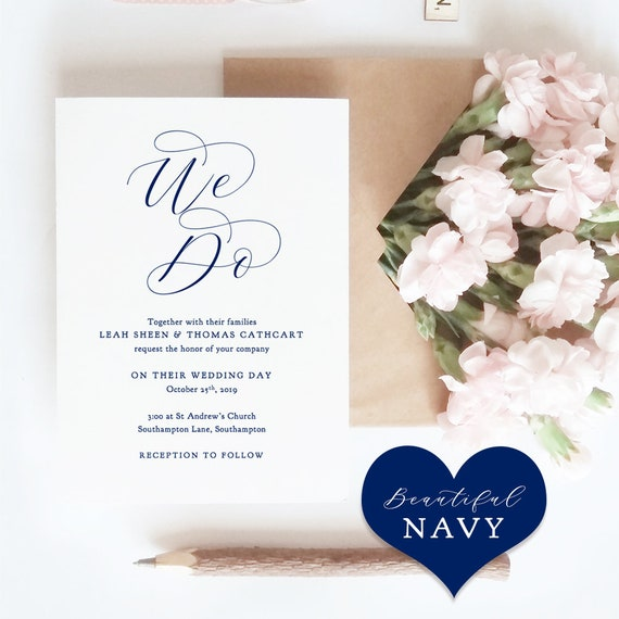 "Navy Wedding Invitation Set, Printable Invitation Template, Navy Blue RSVP, Info Cards, Navy Blue Wedding, ""Beautiful"" Edit in WORD or PAGES"
