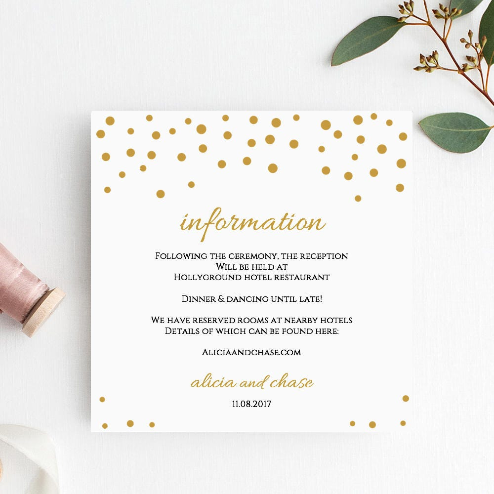wedding information template confetti printable information card