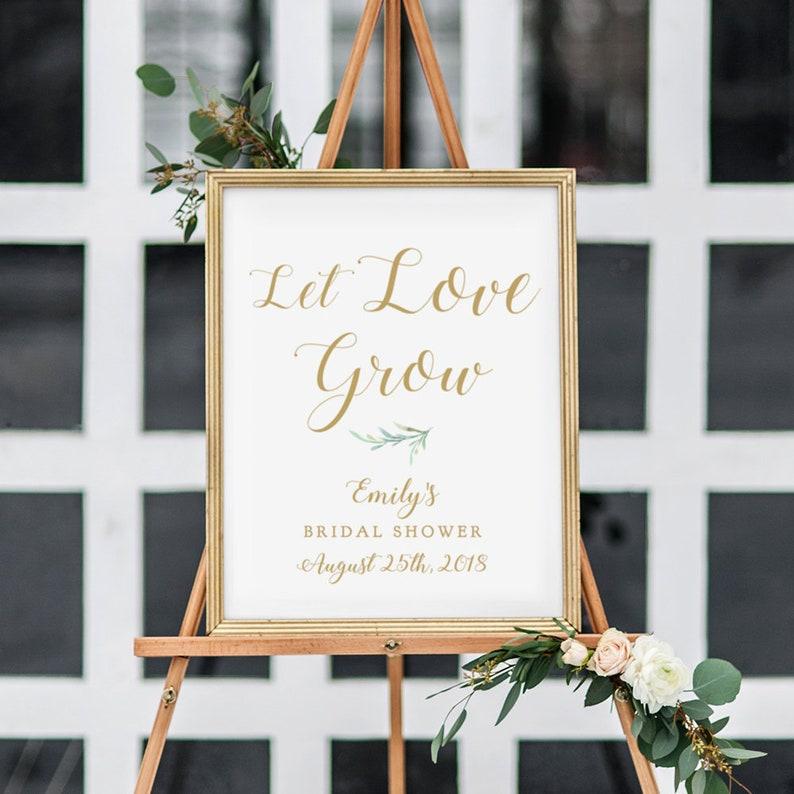 Let Love Grow Bridal Shower Sign Greenery Printable Let Love image 0