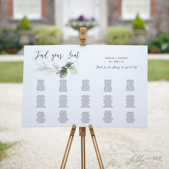 Leaf & Gold - Table Seating Plan Templates, Greenery Wedding Table Plans in 4 Sizes, Corjl Templates, FREE Demo