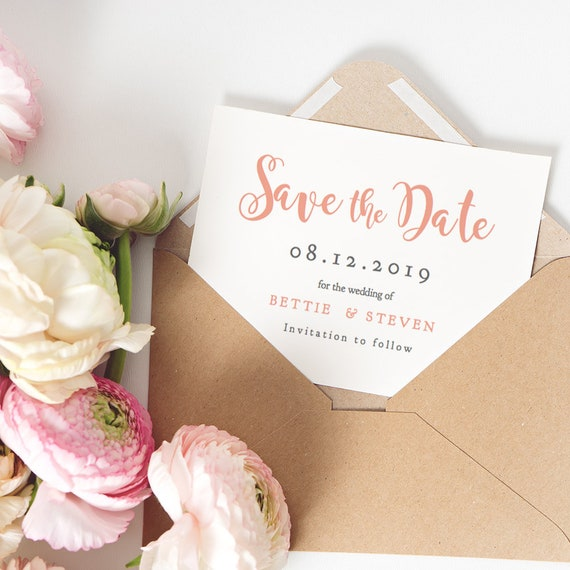 "Coral Save the Date template printable, DIY Wedding Save the Date printable, 5x3.5"" and 5.5x4"" included, ""Bettie"" Editable PDF"