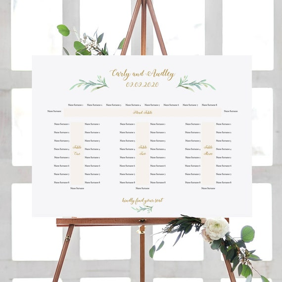 "Banquet Seating Plan, Long Tables Table Plan Printable Template with or without table-end guests, ""Greenery"" 18x24"", A2 sizes, Editable PDF"