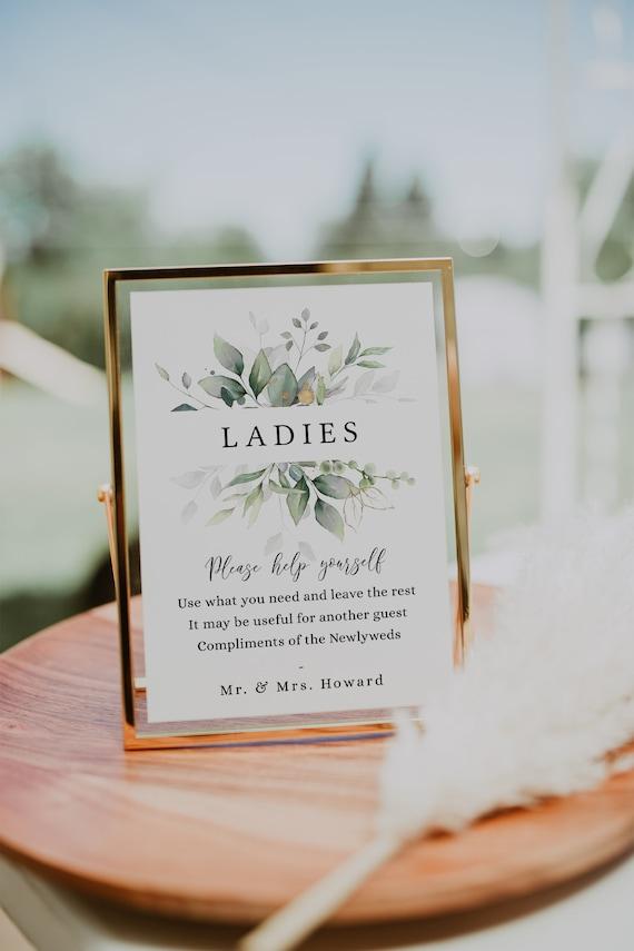 "Leaf & Gold - Bathroom Basket Signs, Printable Wedding Basket Signs, Ladies Gents, 5x7"", 8x10"", 12x16"", Corjl Templates, FREE Demo"